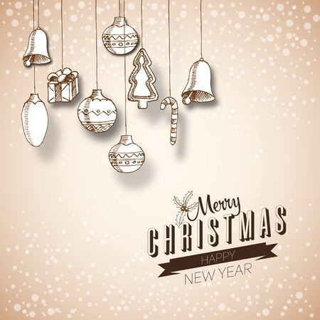 Merry Christmas hand drawn doodles poster design. With decoration, Vector, Happy new year Vector