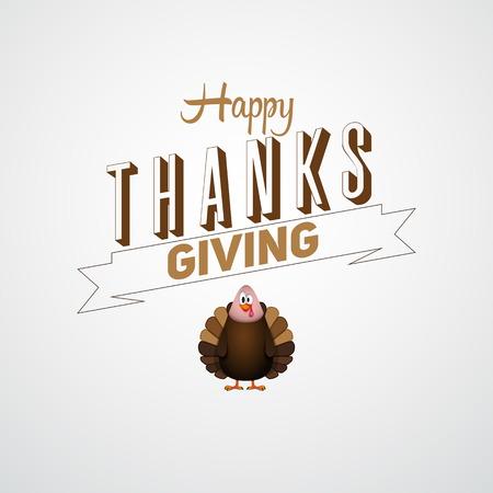 Vintage cartoon van de vogel van turkije voor Happy Thanksgiving viering, kunnen gebruiken als flyer, poster of banner Stock Illustratie