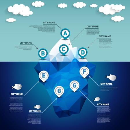 oceano: Iceberg infografía, ilustración vectorial