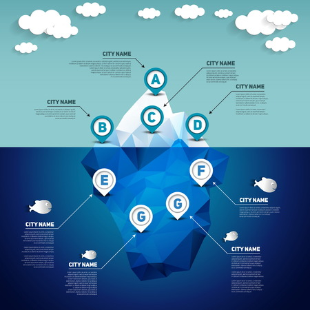 Iceberg infographic, vector illustration Illustration