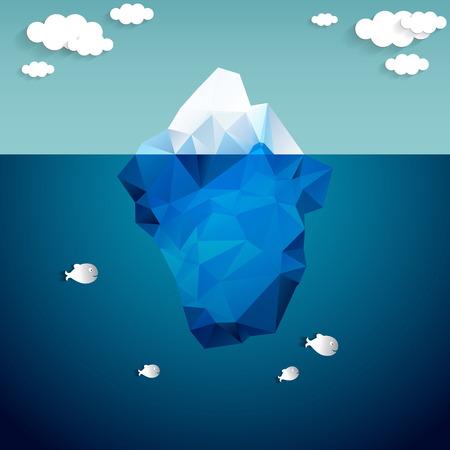 Vector illustratie van de ijsberg en wolken Stock Illustratie
