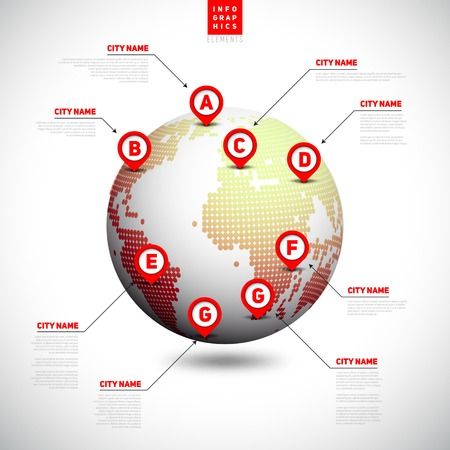 World map from dots, globe with pointer marks, communication concept, vector illustration Vector