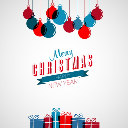 Merry Christmas and happy New Year retro stylized card with holiday xmas balls and gifts, vector frame Vector