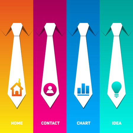 neck ties: Web management icons set with neck tie back ground Illustration