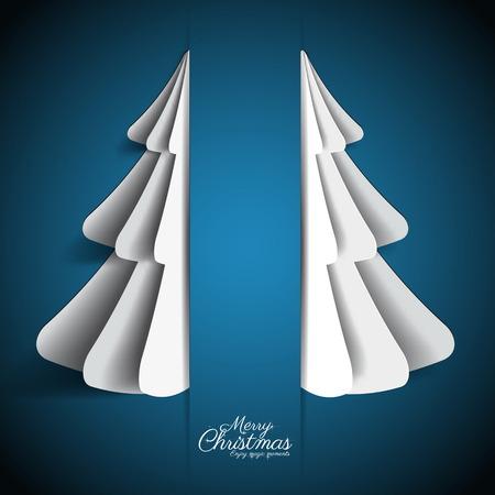 Creative paper Christmas tree on dark blue background. simple vector Illustration Vector