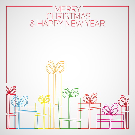 Vector simple line drawing christmas card. christmas presents, gift boxes.