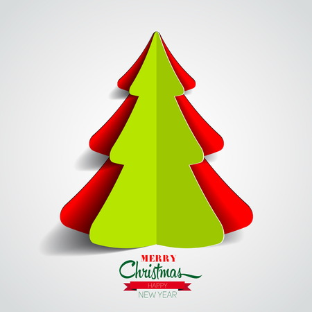 Creative paper Christmas tree on white background. simple vector Illustration Vector