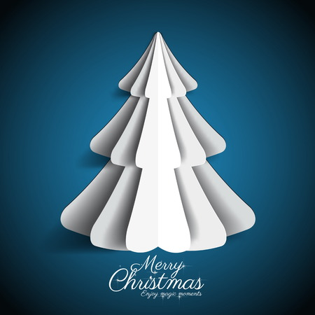 Creative paper Christmas tree on dark blue background. simple vector Illustration Vector