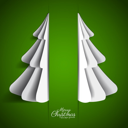 Creative paper Christmas tree on green background. simple vector Illustration Vector