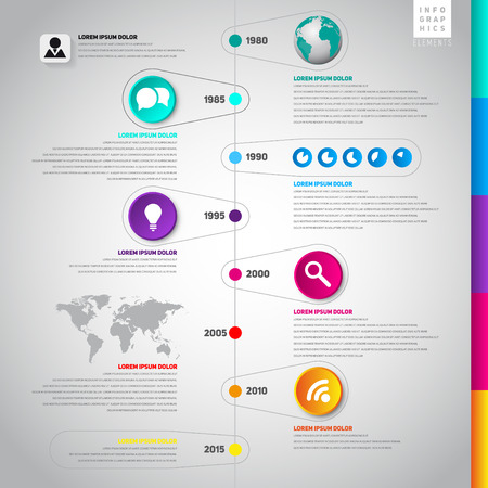 Colorful Flat Timeline Template Can Be Use For Web Design Web - Timeline website template