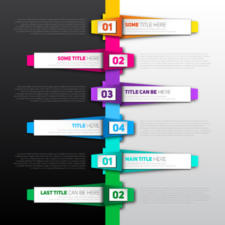 Vector Infographic timeline report template made from colorful papers on a black and white background Vector