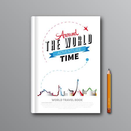 世界旅行ブック テンプレート デザイン、書籍カバー、雑誌の表紙、ベクトル図の使用できます。 写真素材 - 33953517