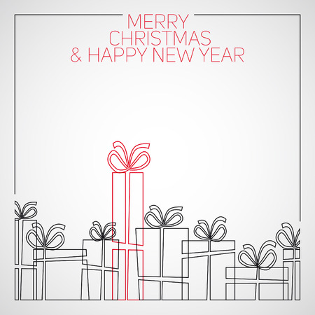 Vector simple line drawing christmas card. christmas presents, gift boxes Stock Illustratie