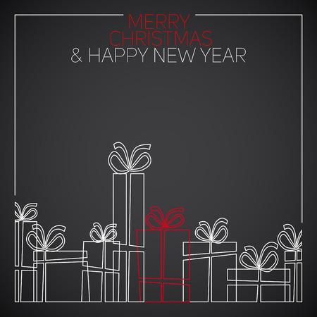 tarjeta de invitacion: Vector dibujo lineal simple tarjeta de Navidad. regalos de Navidad, cajas de regalo