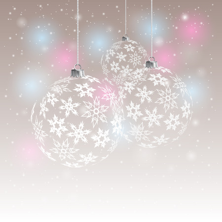 light effects: Christmas Background with balls. Abstract Vector Illustration. Eps10