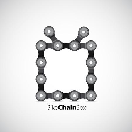 bike chain: Merry Christmas theme with bike chain, gift box, vector card