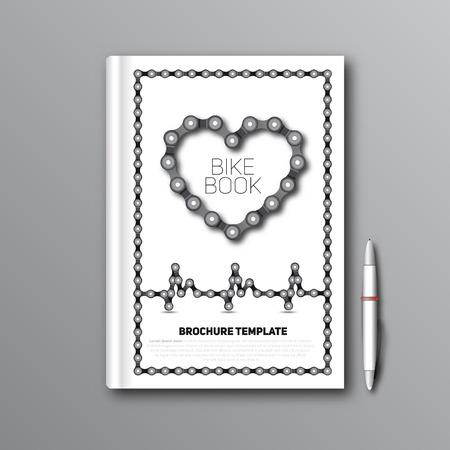 bike chain: Bike Chain book, Brochure template, magazine Vector Illustration