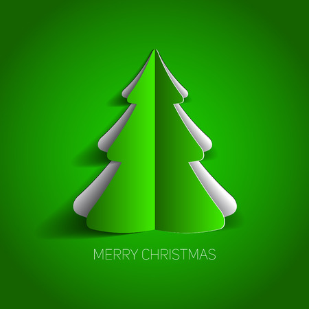 Vector Merry Christmas card with a green minimalistic tree made from paper  イラスト・ベクター素材