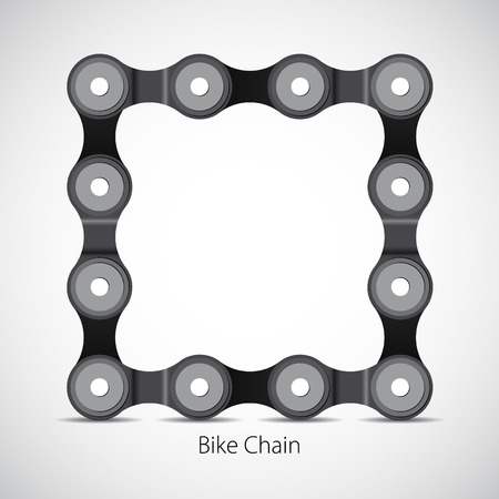 bicycle chain: Bicycle chain, Bike box frame, vector card symbol Illustration