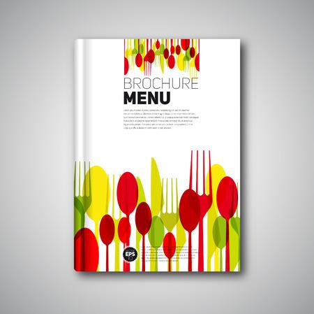 Restaurante la tarjeta del menú diseño de la plantilla, Folleto de diseño de portada de libro, tarjeta vector Foto de archivo - 34152184