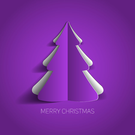 Vector Merry Christmas card with a purple minimalistic tree made from paper Vector