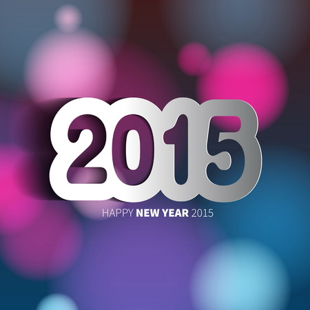 Happy New Year 2015 on blurred background with papercut year, vector illustration Vector