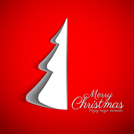 Merry Christmas paper tree design greeting card - vector illustration 向量圖像