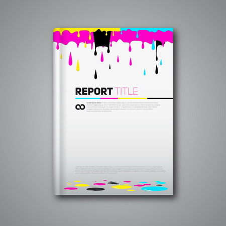 cmyk abstract: Modern abstract brochure in print style CMYK, Cyan magenta yellow black, Vector flyer design template