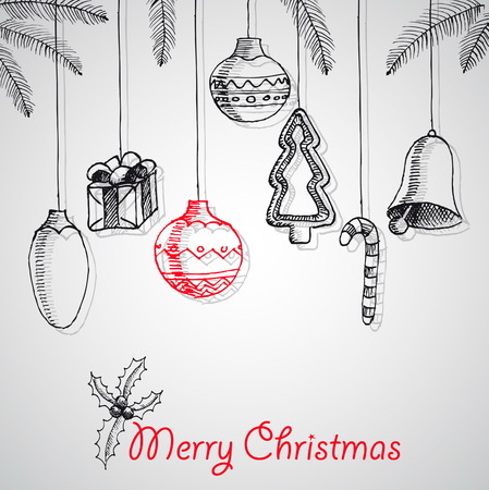 Merry Christmas hand drawn doodles poster design. With decoration, Vector Vector