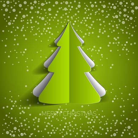 メリー クリスマス ペーパー ツリー デザイン グリーティング カード - ベクトル図 写真素材 - 34979779