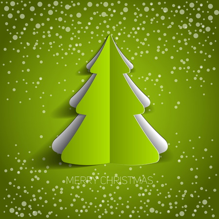 Merry Christmas paper tree design greeting card - vector illustration Иллюстрация