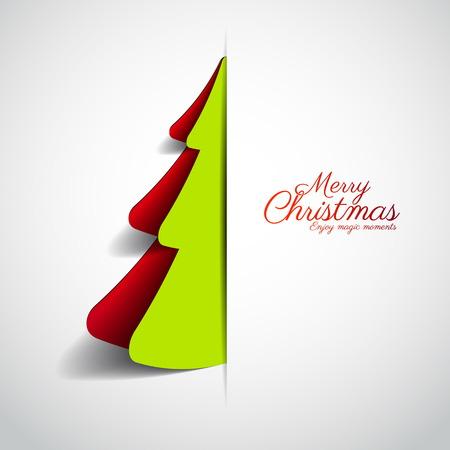 Merry Christmas paper tree design greeting card - vector illustration Illustration