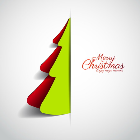 merry christmas: Merry Christmas paper tree design greeting card - vector illustration Illustration