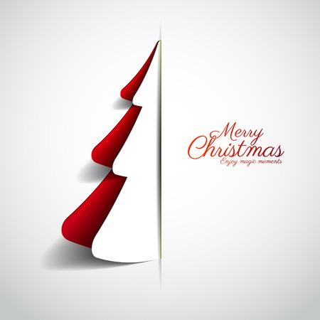 Merry Christmas paper tree design greeting card - vector illustration  イラスト・ベクター素材