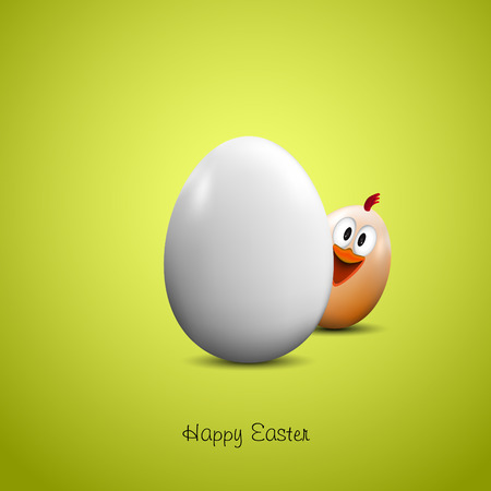 poult: Pascua feliz, pollo divertido con el huevo realista - vector de la tarjeta