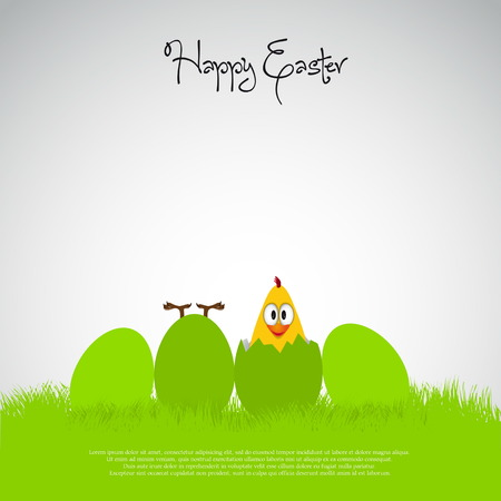 Funny Simple Easter eggs chicks - background illustration - Happy easter card
