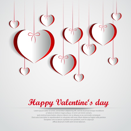 Paper Valentines heart theme card - Happy Valentines day Vector