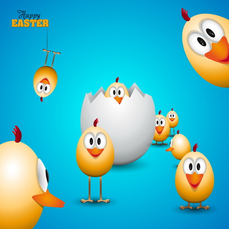 Funny Easter eggs chicks - background illustration - Happy easter card Ilustração