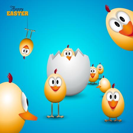 Grappige paaseieren kuikens - achtergrond illustratie - Happy Pasen kaart Stock Illustratie