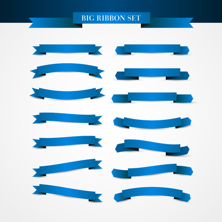 ribbon: Collection of Ribbons - With blue ribbons - vector eps10
