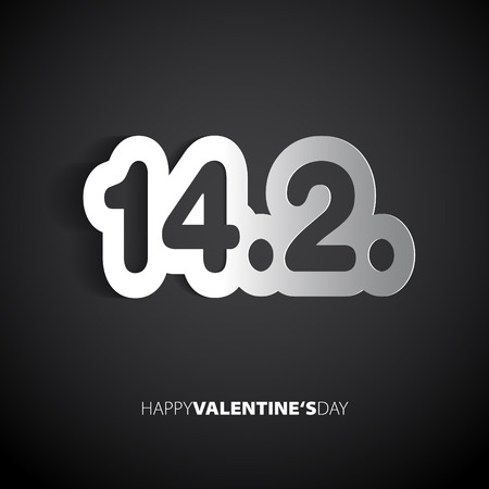 february 14: Valentines day, February 14 maded from paper - vector card Illustration