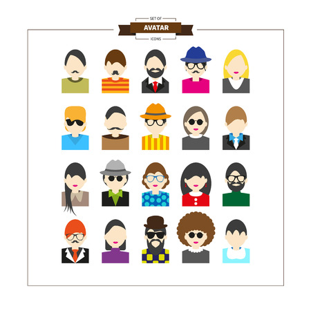 Big set of avatars profile pictures flat icons. Simple design Vector illustration