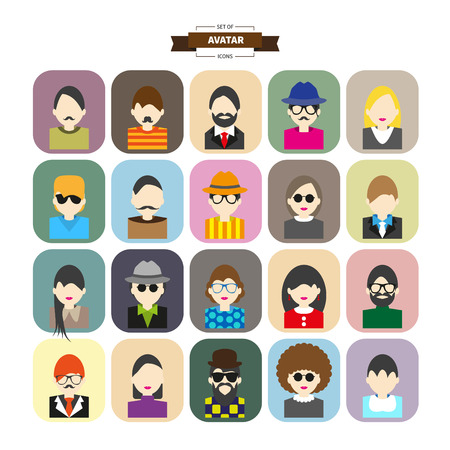 Male and female faces avatars. flat style vector icons set Vector