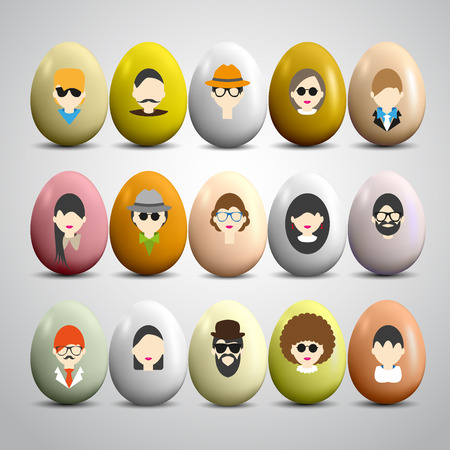 Male and female faces avatars on colored eggs. Vector icons set Vector