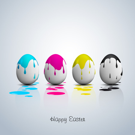 Funny Easter eggs, Cyan, magenta, yellow, black color, CMYK color theme