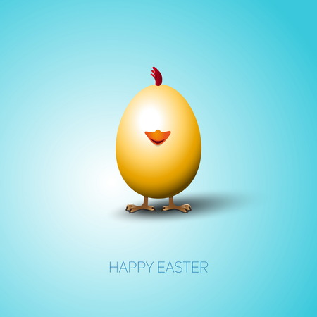 brown egg: Simple vector Happy Easter card with bright brown egg on the color background