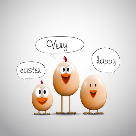 Funny Easter eggs chicks, Happy easter card  イラスト・ベクター素材