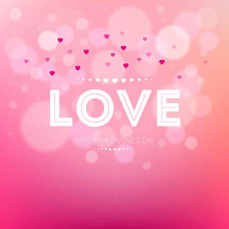 Happy Valentines Day Card Design. Vector love on a pink background with bokeh and light. 14 February. I Love You. Vector Blurred Soft Background Vector