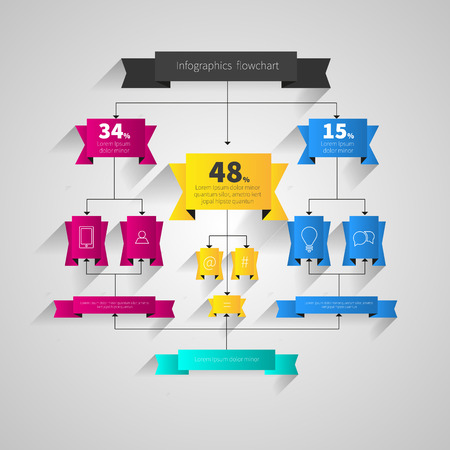Infographics design flowchart. Vector shadows scheme with mixed colors