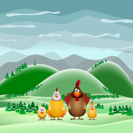 brooder: Happy Easter theme card, Funny chicken family, vector illustration